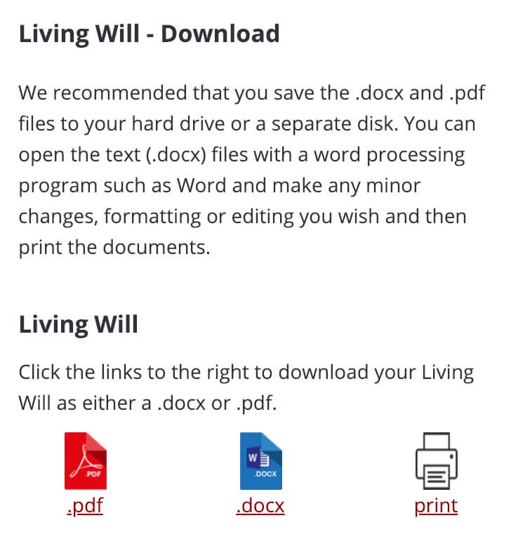 Download your Living Will as either a .docx or .pdf