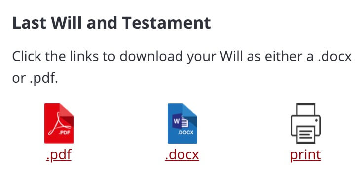 Download your Will as either a .docx or .pdf