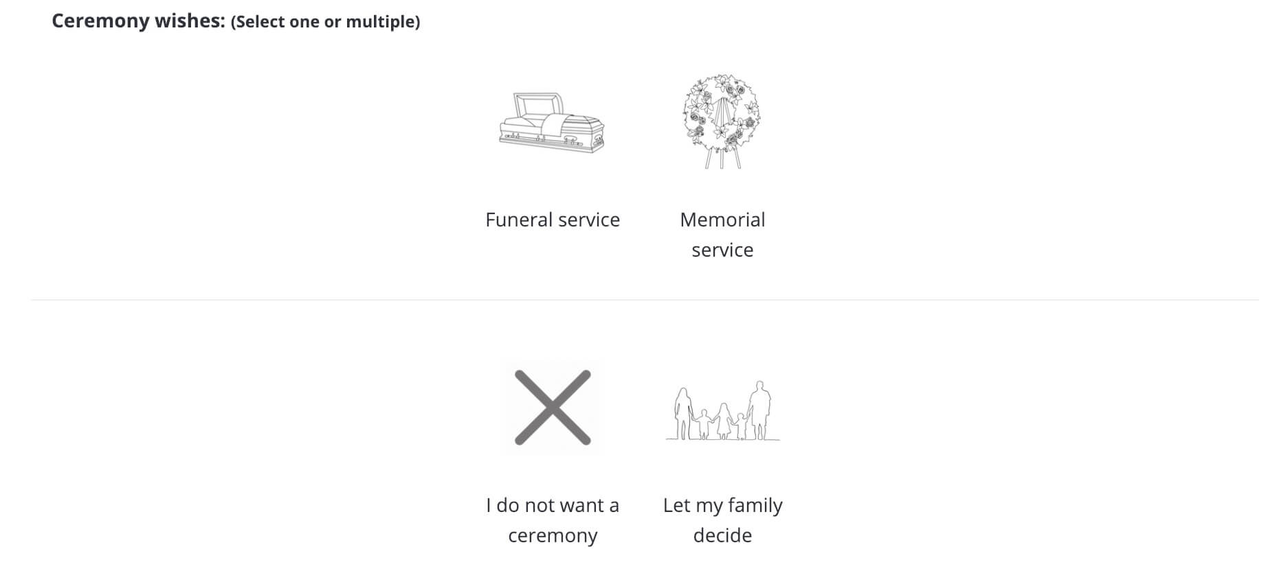 Step 8, your memorial serice preferences.