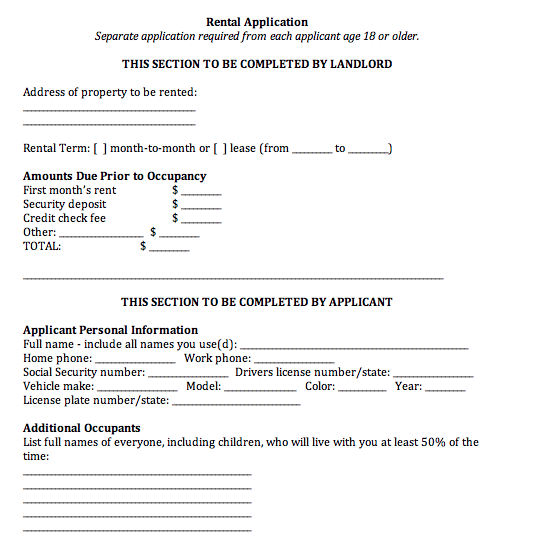 Apartment Rental Application Do Your Own Will Free Online Will – Apartment Application